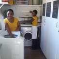 Zettie and Lottie doing laundry
